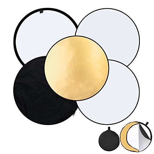 tography 5 in 1 Multi Disc Reflector 80cm / 32in Photo Reflectors Diffuser Collapsible Gold Silver Black White Transparent for Photo Studio (Collapsible Disc Reflector)