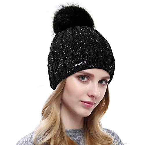 Beanie Scarf Sets Women Girls, Lined Winter Beanie Hat Cable Knit Slouchy Beanie Pom Pom, Winter Infinity Scarf Circle Loop Scarf (Beanie-Black)