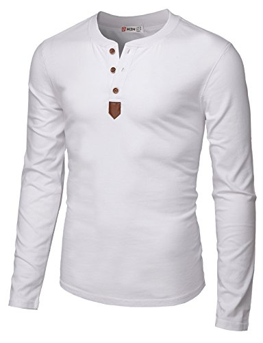 H2H Mens Casual Slim Fit Basic Henley Long Sleeve T-Shirt White US L/Asia XL (CMTTL0103)