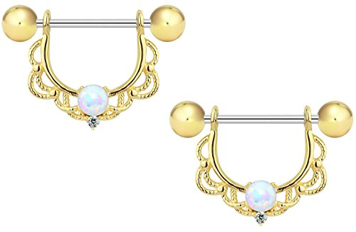 Forbidden Body Jewelry 16g Gold Plated Synthetic Opal Partial Nipple Shield Filigree Barbell Set