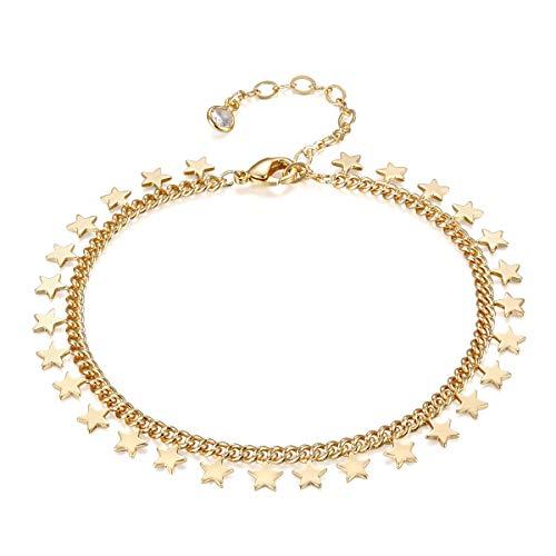 - Star Bracelet,Women 14k Gold Plated Dainty Link Charm Chain Bracelet Minimal Jewelry