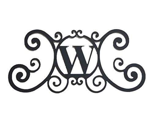 - Bookishbunny Monogram Initial Letter A-Z Wrought Iron Metal Scrolled Door Wall Decoration Plaque Art, 24 x 11 inch 2mm Thick (W)