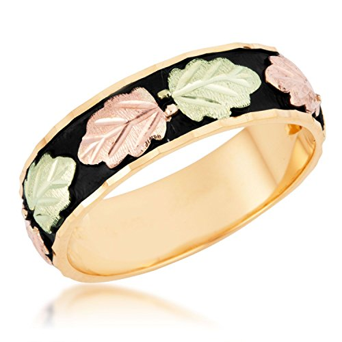 Men's Antiqued Wedding Band, 10k Yellow Gold, 12k Pink and Green Gold Black Hills Gold Motif, Size 12.25 by Black Hills Gold Jewelry