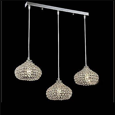 "DINGGUâ""¢Chrome Finish Modern 3 Lights Crystal Chandelier Pendant Lighting for Dining Room"