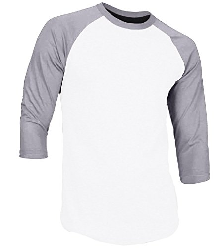 DREAM USA Men's Casual 3/4 Sleeve Baseball Tshirt Raglan Jersey Shirt White/Lt Gray Small (Bella Baseball T-shirt)