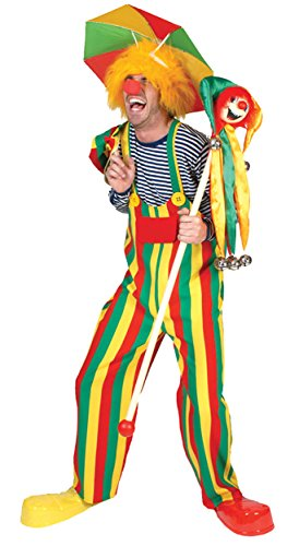 Clown Overalls (UHC Men's Choo Choo Charlie the Clown Funny Comical Theme Party Overalls Costume, L (46-48))