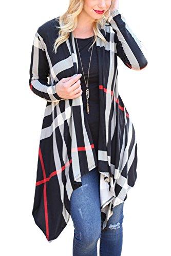 Las Mujeres De Cuello De Chal Long Sleeve Plaid Frente Abierto Irrgular Cardigan Sweaters Black
