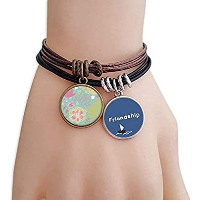 Green Leaves Flower Plant Paint Friendship Bracelet Leather Rope Wristband Couple Set Estimated Price -