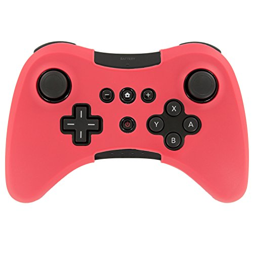 Soft Silicone Case Cover Skin Full Body Protector For Wii U Pro Controller Rubber Case (Red)
