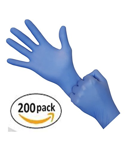 NEW Transform Nitrile Gloves - Powder Free Latex Rubber Free, Exam Medical Grade, Disposable, Non Sterile, Food Safe, Textured, Blue Color, Convenient Dispenser, Eco Pack 200 Count (Size MEDIUM) (Non Sterile Latex)
