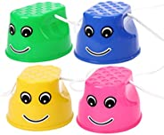NUOBESTY Bucket Stilts Walking Cup Stilts, 4pcs Plastic Balancing Stilts Walking Cups for Kids Stepper Toy Wal