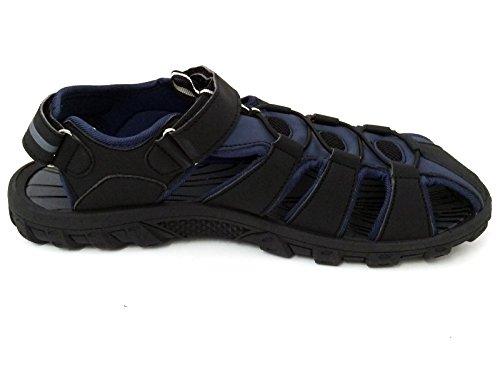 G4U-EY E5A001B Männer Sport Sandalen Wanderer Verstellbare Strap Nahe Zehe Wasserdichte Wassersport Trail Strand Wandern Outdoor Sommer Schuhe Schwarz / Royal