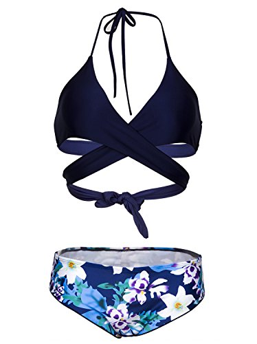 (Viqiv Womens Push up Padded Brazilian Floral 2 Pieces Bikini Swimwear Swimsuit 6 (FBA))