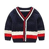 Wellwits Kids Stripe Cable Knit Button School Uniform Cardigan Sweater Navy 120