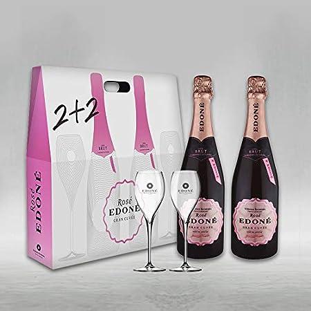 Estuche EDONÉ Rosé Extra Brut 2 botellas con 2 copas