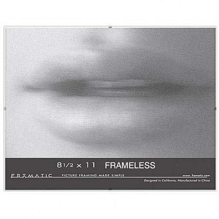 "Frameless Clip Picture Frame Color: Chrome, Size: 8.5"" x 11"" Frame/None Mat -  Framatic, C8511C"