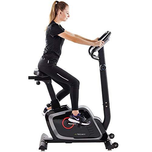 TechFit B470 Magnetic Fitness Exercise Bike, Weightloss Resistance Cardio Machine with Adjustable Saddle, Pulse Sensors and LCD Monitor