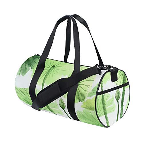 (Duffel Portable Green Lotus Leaf Clean Comfortable Weekend Bag Lightweight Handbag Organizer For Gym Rats Sportman Crossbody Bags Dance Trip Bicycle School Bag)