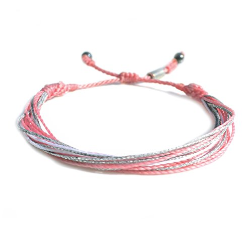Breast Cancer Rose - RUMI SUMAQ Breast Cancer Awareness Bracelet in Pale Pink, White and Metallic Silver Cord
