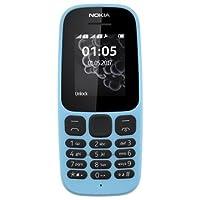 Nokia 105 [2017] TA-1037 Dual-Band (850/1900) Factory - teléfono celular desbloqueado, color negro, Azul