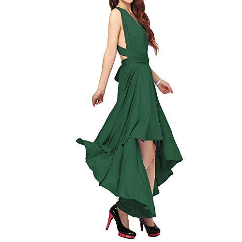 Women Evening High Low Long Dress Convertible Multi Way Wrap Wedding Bridesmaid Dresses Party Pageant Cocktail Ball Prom Gown Summer Beach Maxi Sundress Bandage Dress Blackish Green XL (Best Beach Wedding Attire)