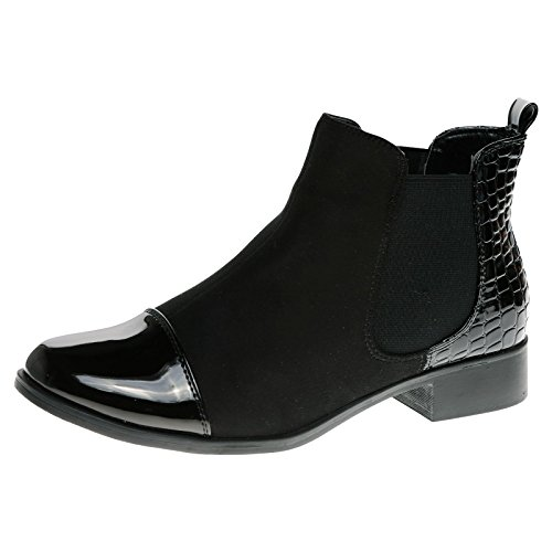 Feet First Fashion Chessa Womens Low Heel Pull On Elasticated Patchwork Chelsea Boots Black Patent / Faux Suede NrqN39485