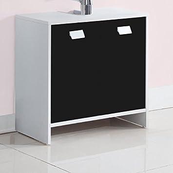 Generique Top Meuble Sous Vasque L 60 Cm Blanc Et Noir Mat Amazon