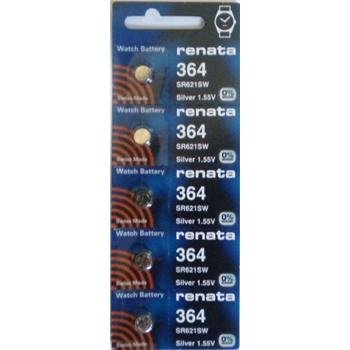 Renata Silver Oxide Watch Battery For 364 Button Cell, 5 Batteries (Watch Battery Renata 364)