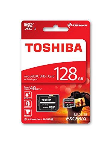 Toshiba EXCERIA M301-EA 128GB Memoria Flash MicroSDXC Clase 10 UHS-I - Tarjeta de Memoria (128 GB, MicroSDXC, Clase 10, UHS-I, 48 MB/s, Negro, Rojo)