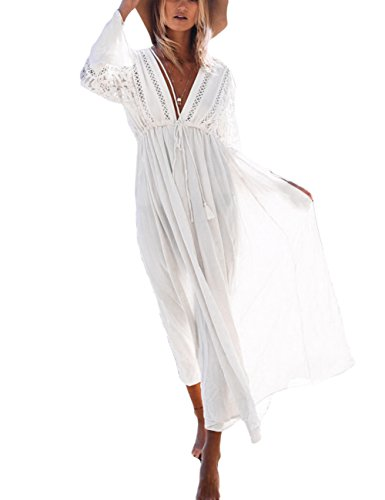 Smock Maxi (Bsubseach Sexy White Lace Long Sleeve Beach Cover Ups for Women V Neck Hollow Out Swimwear Kaftan Cover Up Dress)