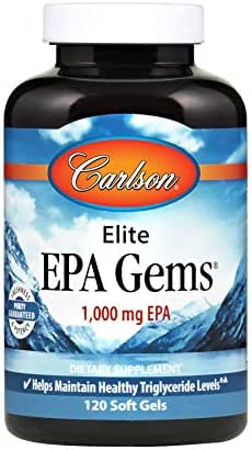 Carlson - Elite EPA Gems, 1000 mg EPA, Helps Maintain Healthy Triglyceride Levels, 120 Soft gels