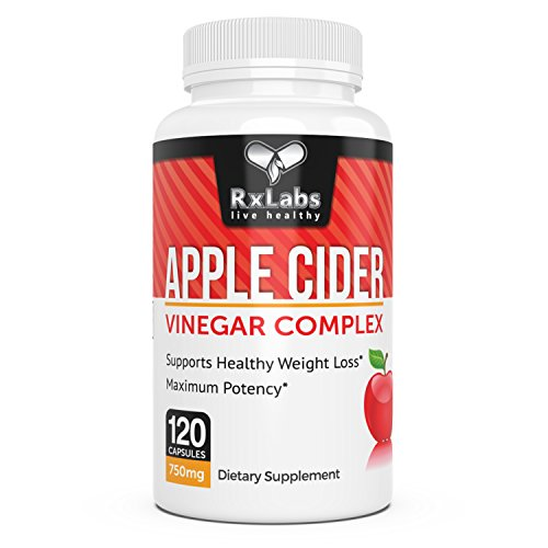 RxLabs 120 Apple Cider Vinegar Tablets 750mg | Natural & Highly Potent Weight Loss Dietary Supplement For Women & Men | Boost Immunity & Metabolism, Cleanse & Detox System, & Increase Energy Levels