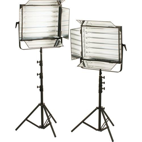 (Smith-Victor FLO-330 660W Total Dimmable Fluorescent 2-Light Kit, Includes 2X 4-Leaf Barndoor Set, 12x 55W Daylight Tubes and 2X Talon 8' Light Stands)