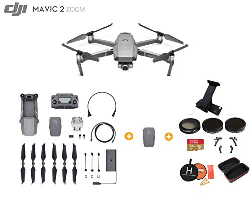 - DJI Mavic 2 Zoom Drone Quadcopter with Extra Battery, Ultimate Bundle, with 64GB SD Card, Filter Set, Landing Pad, Landing Gear and Backpack