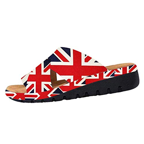 - Respctful✿Women's Summer Sandal Shoe Slip On Platform Soft Rubber Wedge Sandals American Flag Printed Red