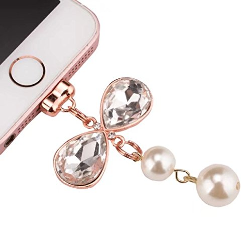 Price comparison product image MEIQING Charming Elegant Crystal Pearl Pendant For Iphone Deco Best Gift for Girls (White)