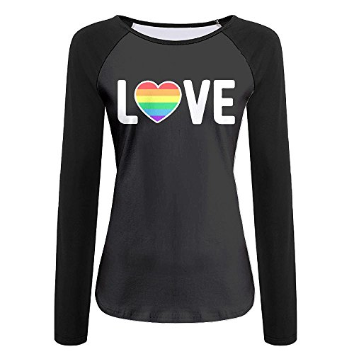 LOGZDRll Women's Gay Pride Love-1 Graphic Long-Sleeve Tee by LOGZDRll (Image #1)