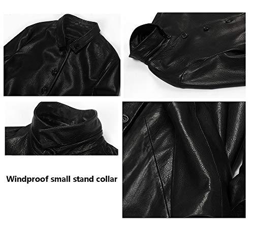 Imzoeyff Pelle Donna Di Qualità Elegante Black Lunga Da Alta In Montone Invernale Giacca rqXwOr