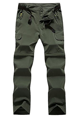 Mr.Stream Men's Hiking Quick Drying Mountain Outdoor Trekking Sports Camping Stretch Convertible Pants 5XL Green from Mr.Stream