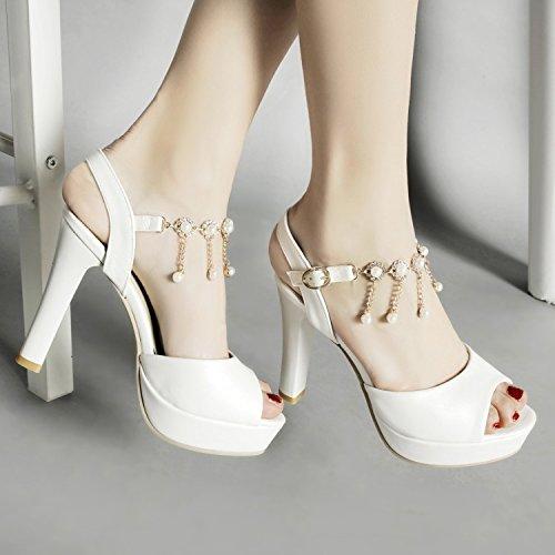 da tacco L lavoro strass sexy scarpe alto sandali con open da donna Estate YMFIE toe alti tacchi spessa donna col da UFwq4wp