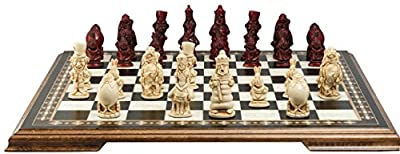 Alice in Wonderland Themed Chess Set - 3.5 Inches - In Presentation Box - Handmade in UK - Ivory and Burgundy