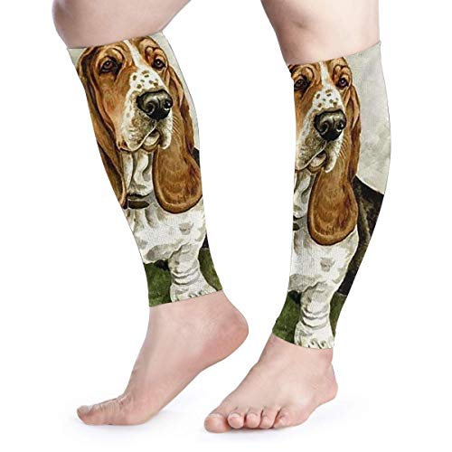 Basset-Hound-Rubber-Coaster-Set Leg Compression Socks for Men Women Unisex Calf Shin Splint Guard Breathable for Running Sports Outdoor Activities Work Gym Plane Pregnancy and Daily Use (Pair)
