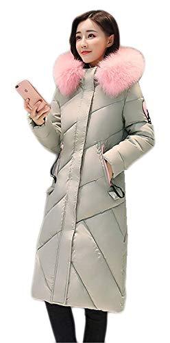 De Pluma Grün Manga Invierno Abrigo Espesar Larga Invierno De con Plumas Mujer Estilo Piel Talla Especial Imitación Grande Capucha Parka Acolchado Largos BoBoLily PBOqUU