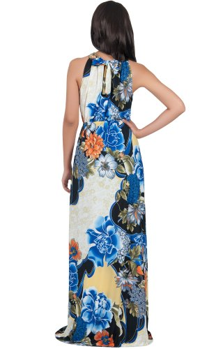 KOH KOH® Damen Ärmelloses Halter Maxikleid Blumen Print Dress Kobaltblau i1MC2bi5y