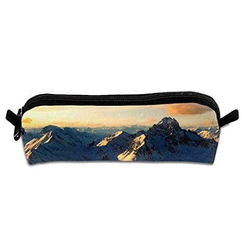 Diemeouk Pencil Case Mountaintop Scenery Zippered Pen Bag Cosmetic Makeup Bags for Colored Watercolor Pencils
