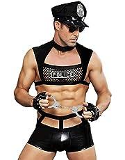 Men's Cosplay Nightclub Politie-uniform Ondergoed Net Vest For Men Undershirt Zwart (1 singlet 1 PU Boxers + 1 VE Hat + 1 zonnebril + 1 VE Gloves + 1 Handcuffs)