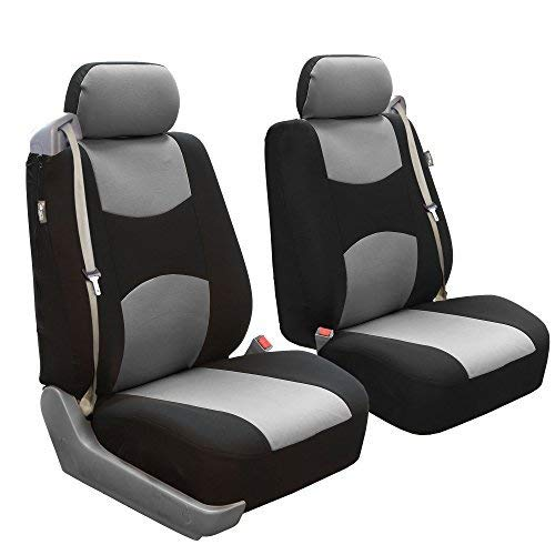 FH Group FB351GRAY102 Gray Flat Cloth Built-in Seatbelt Compatible Low Back Seat Cover, Set of 2 ()