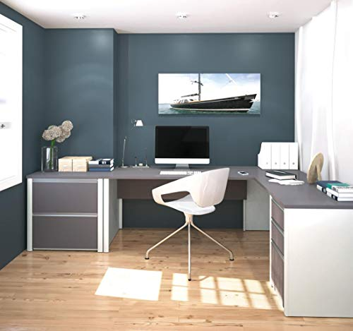 2-Piece Set Including a L-Shaped Desk and a lateral File Cabinet