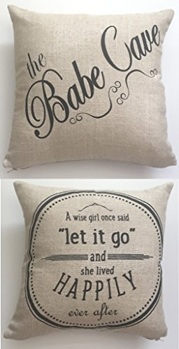 Motivational Babecave-BABE CAVE- let it go linen Throw Pillow-babe cave,babecave,teen girl pillow,girls room pillow,girls sign,motivational quote for girls,teen bedding,dorm pillow,sorority pillow