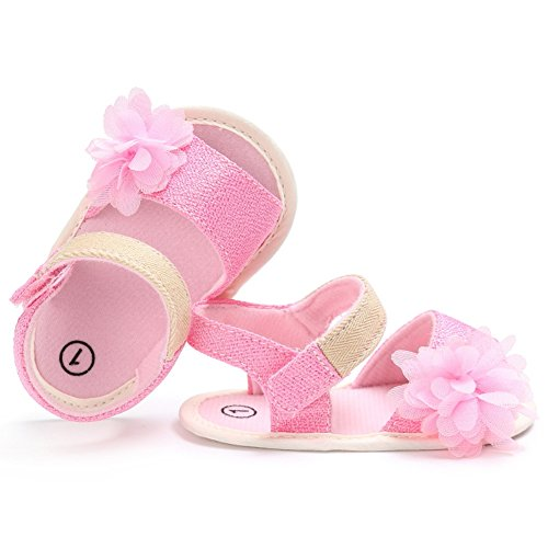 BOBORA Bebe Ninas Beb¨¦s Zapatos De Verano Sandalias De Flores Antideslizante Zapatos De Bebe rosa